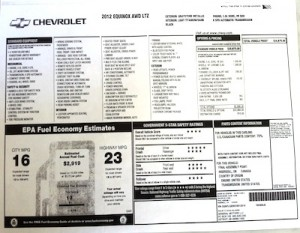 The Monroney report explains options and fuel costs of new cars
