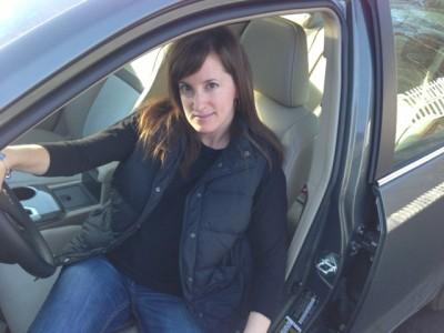 Fadra Nally in a car coat