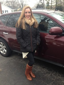 Vera Sweeney in her Tory Burch riding boots - for riding in her Nissan