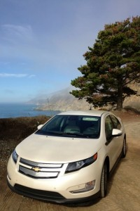 Chevy Volt with a view of Carmel, California