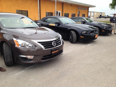 A fleet of test cars at the Continental test track in Uvalde, TX