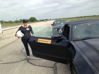 Yoly Mason getting ready to test out Continental's TrueContact tires