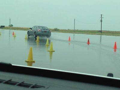 Testing tires on Continental's wet track