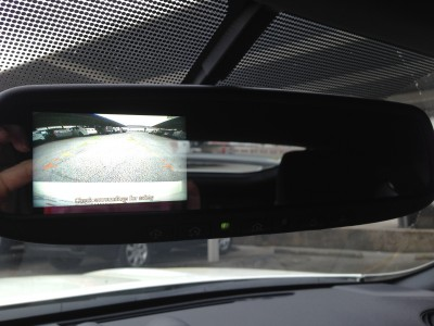 Brilliant detail: the rear view camera is displayed on the rear view mirror; with the 370Z NISMO's blind spots, the rear view camera is an important feature